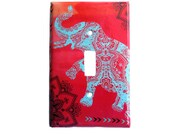 Bohemian Switchplate Cover - Elephant switchplate  - Red Ombre Turquoise Black- Bohemian Bedroom Decor