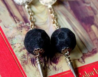 Vintage Earrings Dangle Velvet Spike Stud Black Gold Tone
