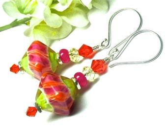 Colorful Earrings Bright Earrings Bicone Earrings Glass Earrings Lampwork Earrings Artisan Earrings Beaded Earrings Fun Earrings