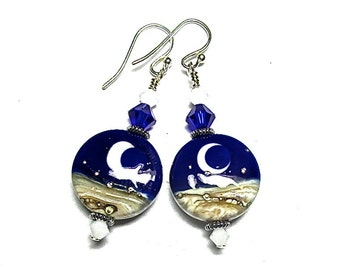 Blue Moon Earrings, Lampwork Earrings, Artisan Earrings, Celestial Earrings, Blue Earrings, Glass Earrings, Handmade Earrings