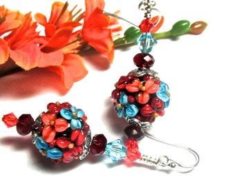 Colorful Earrings Round Bead Earrings Flower Earrings Lampwork Earrings Artisan Earrings Beaded Earrings Floral Earrings Handmade Earrings