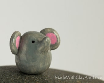 Little Elephant - Terrarium Figurine Miniature Polymer Clay Animal - Hand Sculpted