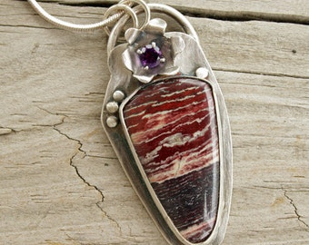 "Snakeskin Jasper Cabochon, Cyber Monday, Amethyst Faceted Stone, Gemstone Pendant, Handcrafted Sterling Setting, 1 7/8"" x 3/4"""