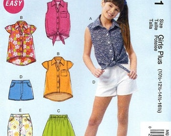 GIRLS CLOTHES PATTERN! Make Shirts - Shorts / Summer Clothes / Sizes 7 to 14 or 10 1/2 to 16 1/2