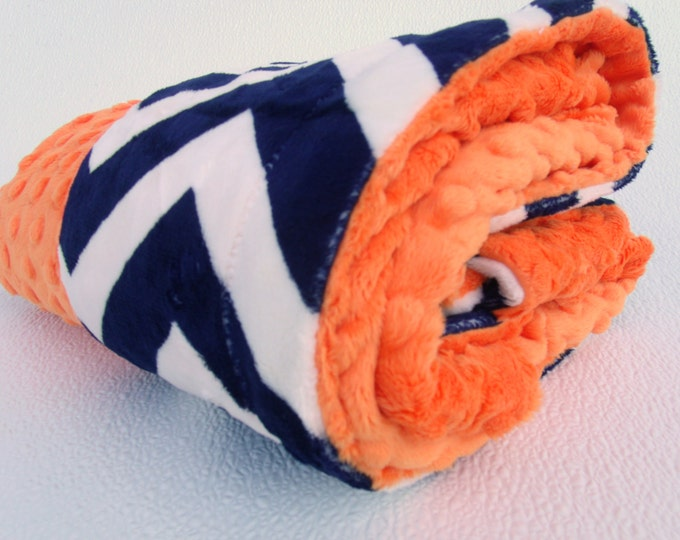 Navy Chevron with Orange Minky Baby Blanket for Baby Boy or Girl Can Be Personalized
