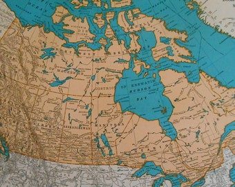 Dominion Of Canada Map, 1930s vintage atlas map, Old maps as art, wall decor