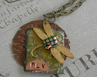 Copper and Enamel Dragonfly Necklace - Fly