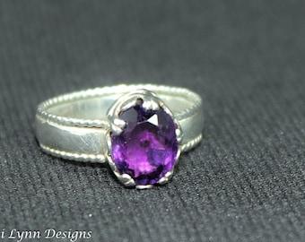 Amethyst Crown Ring February birthstone