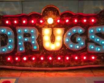 Vintage Marquee lights art  U DRUGS aranacci inspired at The Parker Palm Springs