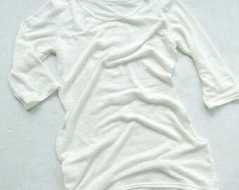 Sheer white tunic and tube top set, organic cotton bamboo, made to measure