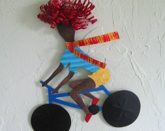 Cyclist wall hanging art sculpture lady on bike sports - repurposed metal wall bicycle decor 185.00