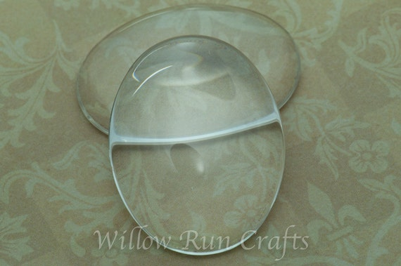 100 Pack 30 x 40mm Oval Glass Cabochons(09-11-750)