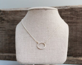 Sterling Silver Artisan Hammered Circle Necklace
