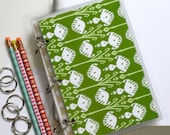Three Ring Binder Journal, 6 x 9 Journal Binder, Modern Ikat Green