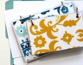 4 x 6 Index Card or Note Card Binder, Suzani Set, Yellow Teal