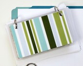 3 x 5 Index Card or Note Card Binder, Green and Blue Stripe