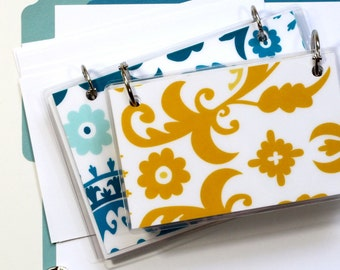 4 x 6 Index Card or Note Card Binder, Suzani Set, Yellow Teal