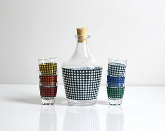 Mid Century Modern Houndstooth Shot Glasses and Decanter Set from France