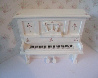 Dollhouse piano and stool, Tatty chic white piano, piano, dollhouse piano, stool, dollhouse miniature, twelfth scale,