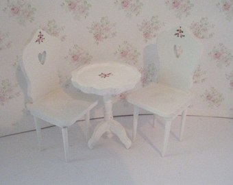 Dollhouse Tete a tete table, white chairs, tea room set ,Pie crust table,  Twelfth scale, dollhouse miniature