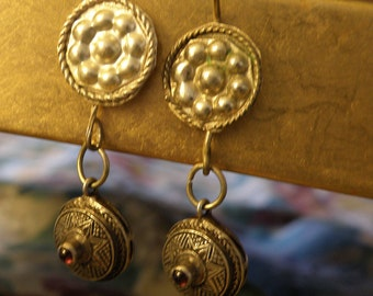 tribal earrings with silver drops and colored stones