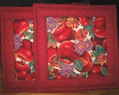 Quilted Pot Holders in an Apple Pattern - Set of 2