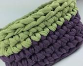 eggplant purple and kiwi green upcycle t-shirt yarn basket bowl