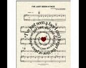 The Beatles I've Just Seen A Face Song Lyric Sheet Music Art Print, Custom Music Art, Names and Date, Spiral Lyric Art, Love Song Art