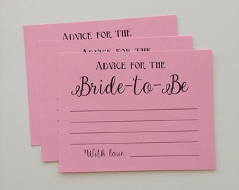 Advice for the Bride to be, Advice for the Bride, Bridal Shower Cards, Advice cards