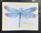 blue dragonfly card SUMMER CLEARANCE unique hand printed dragonfly card from original art thank you card blank