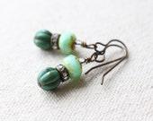 Mint Green and Turquoise Rhinestone Earrings