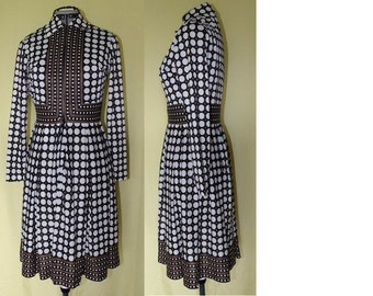 Vintage Long Sleeve Polka Dot Dress by Neiman-Marcus, Brown and White, 1970's Era
