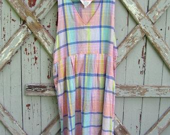 Mindy - vintage 1980s plaid jumper dress XXL 2X 3X