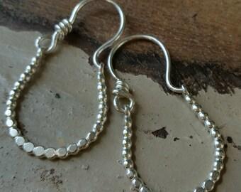 Sterling Silver Beaded Hoop  Earrings. Hand forged.109e