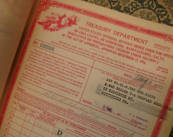 TEN Vintage ORIGINAL Receipts Order Forms for Opium, Etc. United States Treasury Department Booklet of 10 Carbon Receipts