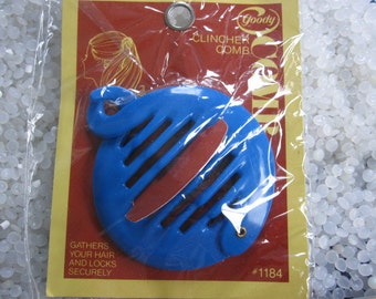 vintage hair accessory ring comb ponytail  holder , bright blue clincher comb  SALE