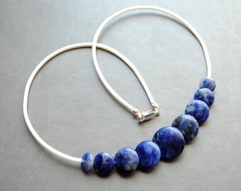 Necklace - Feels like Heaven- blue Sodalite, silver , modern, unique, art to wear, ooak, contemporary - by Schneider Gallery