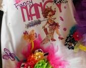 Custom Fancy Nancy Birthday Girl Tutu Butterfly Headpiece Outfit...Sooo OOOH LA LA... Photo Prop Dress Up
