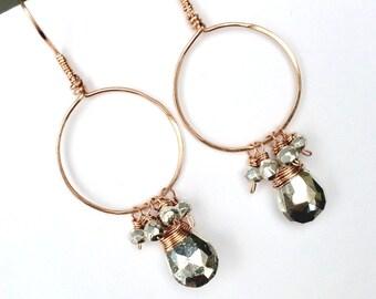 Rose Gold Fill Hoop Earrings Silver Pyrite Wire Wrap Rose Gold Silver Earrings Simple Everyday Earrings, Bohemian Jewelry