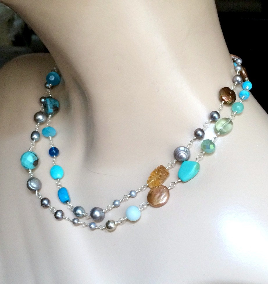 colorful wire wrapped gemstone pearl by doolittlejewelry