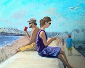 "The Wall - 6"" x 8"" Two people sitting on the beach wall at Hampton Beach, NH"
