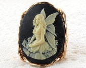 Sitting Fairy Cameo Ring 14K Rolled Gold Fantasy Jewelry