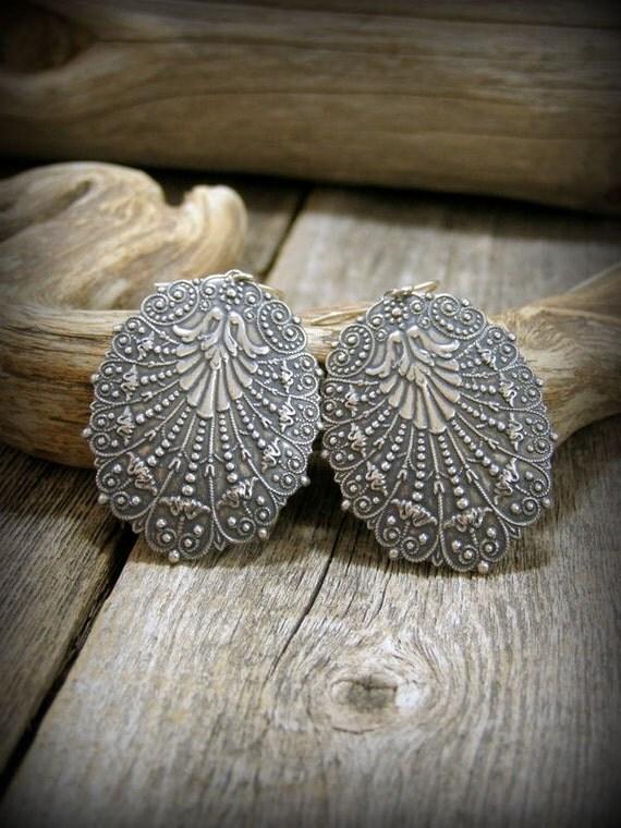 Silver Earrings, Bohemian Earrings, Victorian Boho Earrings, Large Oval Earrings, Moroccan Earrings, Gypsy Earrings, Boho Chic Earrings