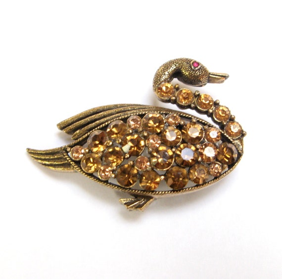 Vintage WEISS Brooch RHINESTONE Pin SWAN Duck Bird Topaz Gold Signed Figural Costume Jewelry