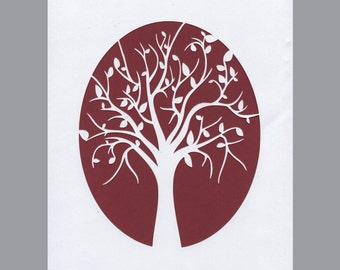 Tree Silhouette White Paper Cut Nature Wall Decor Wall Art 8X10 Unframed