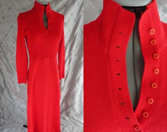 70s Dress // Vintage 1970's Red Knit Maxi Dress by Roncelli Size S M Made in Hong Kong
