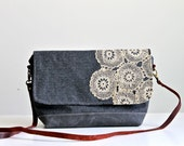 Grey Pinstripe Crossbody Purse with Vintage Lace and Waxed Canvas Bottom
