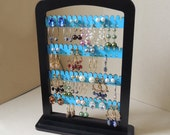 Earring jewelry holder earring organizer stand displayTEAL wood with stand