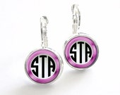 Pnk Framed Monogram Earrings, Bridesmaid Gift, Monogram Jewelry Personalized Earrings (363)