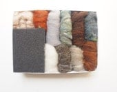 Needle Felting Kit, wool felt roving brown grey natural neutral colors rich earth tones woodland mushroom beginner DIY Waldorf Fairyfolk